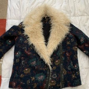 Free People Jacquard Wool Coat w/ Faux Fur